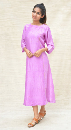 Purple Khadi Silk Embroidered Tunic $ IWK-000247