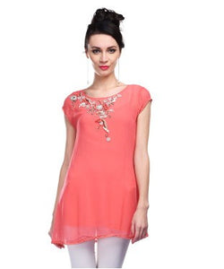 Pallavi Mohan Coral Pink Tunic With Inner