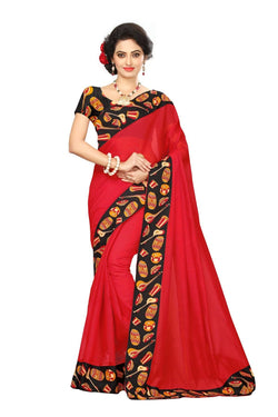 16to60trendz Red Chanderi Lace Work Chanderi Saree $ SVT00079