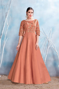 Manvi Fashion Women's Brown Color MODAL SATIN-(PURE FEB) Fabric Embroidery & Stone Work Gown $ MF 2151