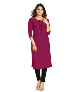 Muta Fashions Women's Semi Stitched Casual American Crepe Wine Red Kurti $ KURTI363
