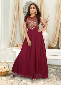 Manvi Fashion Women's Red Color Jacquard Fabric Embroidery Work Gown $ MF 2550