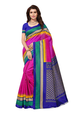 16TO60TRENDZ Pink Color Printed Bhagalpuri Silk Saree $ SVT00446
