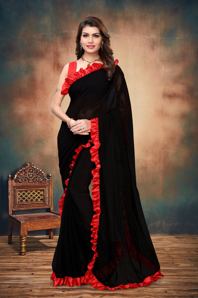 YOYO Fashion Georgette Plain Black saree with Blose $ SARI2654