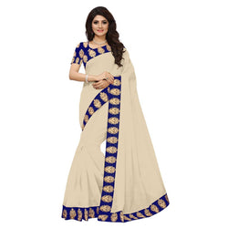 16to60trendz Beige Chanderi Lace Work Chanderi Saree $ SVT00106