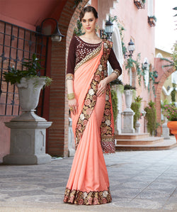 Fashion FizaOrange Georgette EMBROIDERY Saree with blause pice