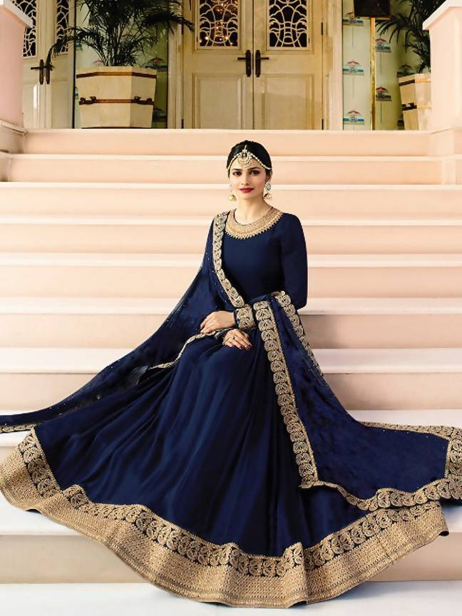 452ed399dd7 ... YOYO Fashion Latest Fancy Semi-stitched Faux Georgette Embroidered  Anarkali Salwar Suit Gown  YO ...