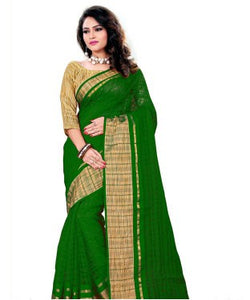 AAR VEE Green Cotton Weaving Designer Saree