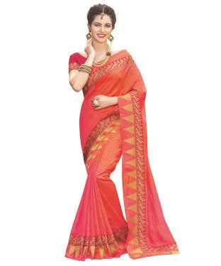 Laethnic Orange Art Silk Saree