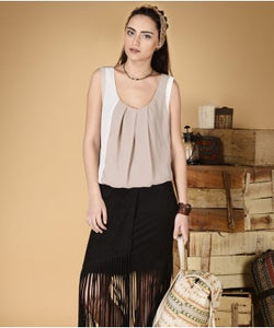 Free Esprit Beige And White S/L Top