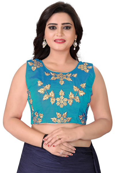 YOYO Fashion Turquoise Silk Embriodered Extra Sleeve With Blouse $ BL4001-Turquoise