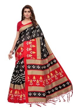16to60trendz Black and Red Art Silk Printed Mysore Art Silk Saree $ SVT00203