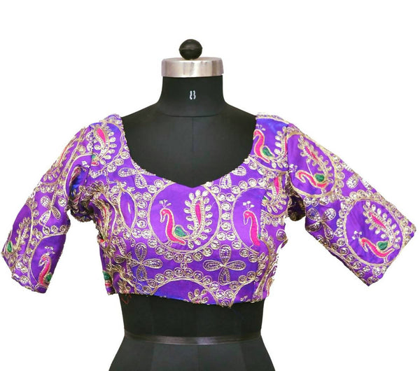Stitch O Fab Purple Zari work Women Blouse-SOFpzewb137
