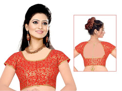 Manvi Fashion Marvelous Designer blouse in Brocade fabric wedding blouse Red color good Lace Readymade Blouse $ MF 1653