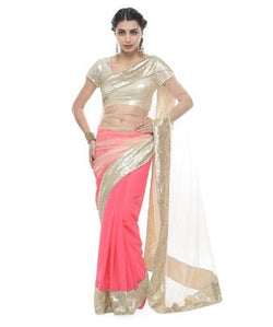Net and Georgette Saree with Blouse