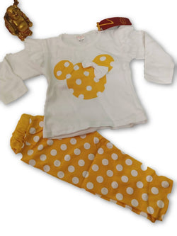 Cute Minnie Printed Bear Top & Bottom Set For Baby Kids_Yellow & White $ CP-KA20
