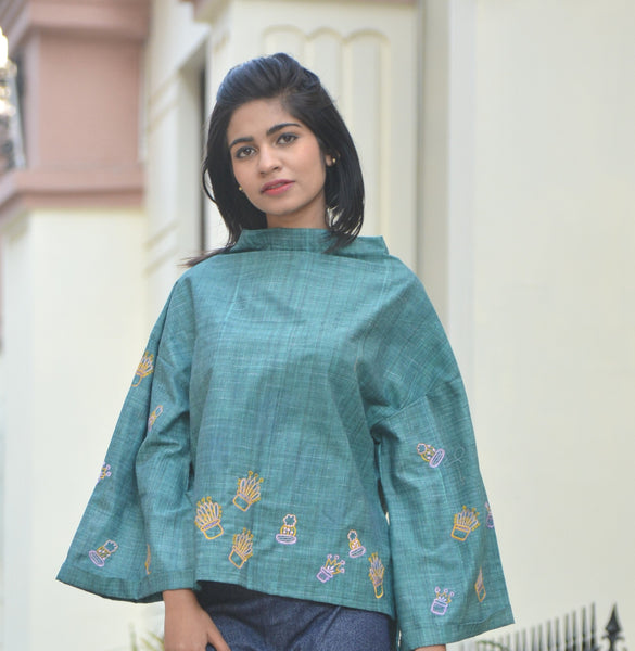 Green High Neck Cactus Khadi Cotton Top $ IWK-000570