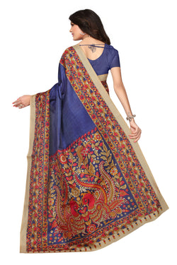 BL Enterprise Women's Bhagalpuri Cotton Silk Kalamkari Blue Color Saree With Blouse Piece $ BLLB-27