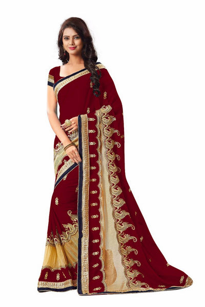 16to60trendz Maroon Georgette Embroidery Designer Saree $ SVT00264