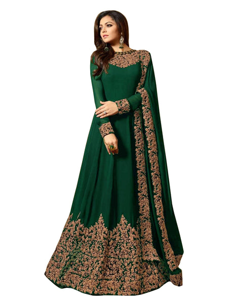 YOYO Fashion  Latest Fancy Semi-stitched Faux Georgette Embroidered Anarkali Salwar Suit $ F1220-Green
