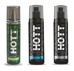 HOTT CALYPSO, SPORT & NOIR Perfume Spray for Men- (Set of 3) (135ml each)