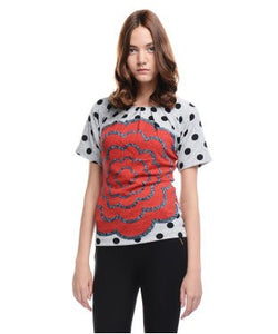 Allison Taylor Red, Grey And Black S/S Top
