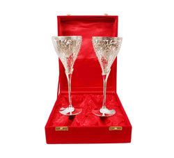 German Silver Wine Glass/Wine Goblet (Set of 2 Pieces) with Beautiful Velvet Box Packing Exclusive Gift for Diwali Gift Items and Wedding Gift Items $ IGSPBR101038