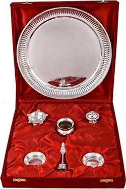 INTERNATIONAL GIFT German Silver Pooja Thali With Beautiful Red Velvet Box For Gifts $ GNI-135