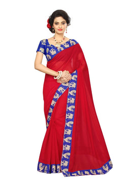 16to60trendz Red Chanderi Lace Work Chanderi Saree $ SVT00088