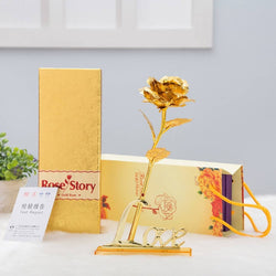 International Gift Gold Rose 25 Cm With Love Stand (25 Cm, Gold) $ IGR-103
