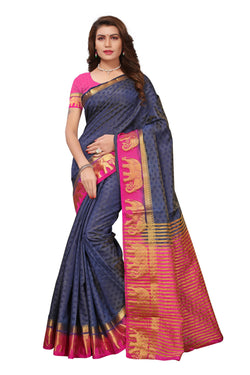 16to60trendz Blue and Pink Tusar Silk Handloom Art Work Kanjivaram saree $ SVT00005