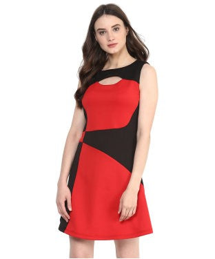 Miway Red & Black Solid Bodycon Dress