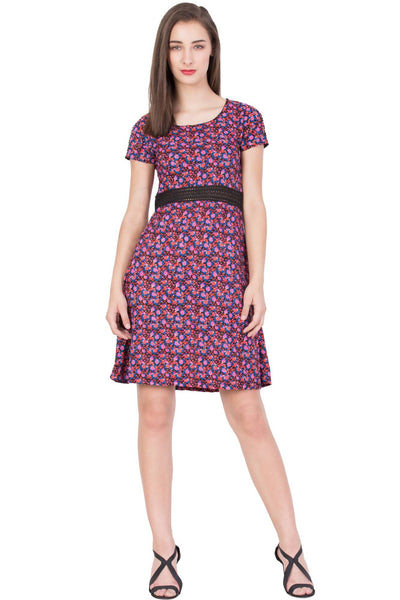 Boxymoxy Women's Floral Print Multicolor Casual SHORT DRESS $ ZB-D2