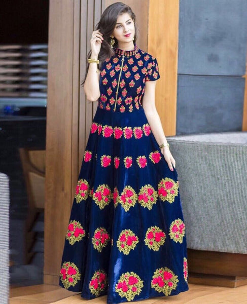 Pavitra Creation Designer Navy Blue Embroidered Satin-Banglori Silk Semi-stitched Gown  AFG-5 $ AFG-5