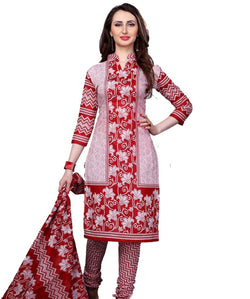 Minu Suits Red Cotton Salwar Suits Sets Dress Material Freesize,Redbeauty16_16004