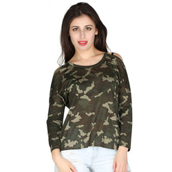 London Rag Womens Full Sleeves Round Neck Camofluage -CL7238