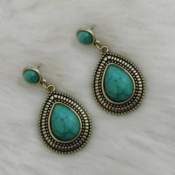 Tanishka Fashion Gold Plated Blue Turquoise Stone Dangler Earrings