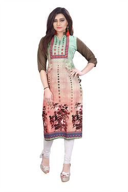 Manvi Fashion Women's Designer Partywear Multi Color American Crepe Fabric Digital Printed Readymade Kurti $ MF 2835