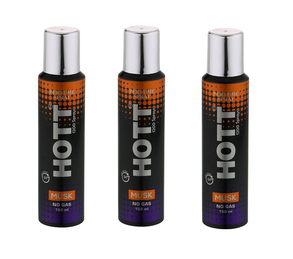 HOTT MUSK NO Gas Deodorant for Men- Pack of 3 (150ml each)