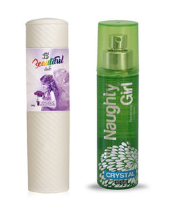 BEAUTIFUL TALC 250gm ANGELIC & Naughty Girl CRYSTAL 135 ml (Set of 2 for Women)