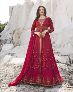 YOYO Fashion Nylon Net Dark Pink Embroidered Semi-stitched Anarkali Salwar Suit $ YO2-F1266