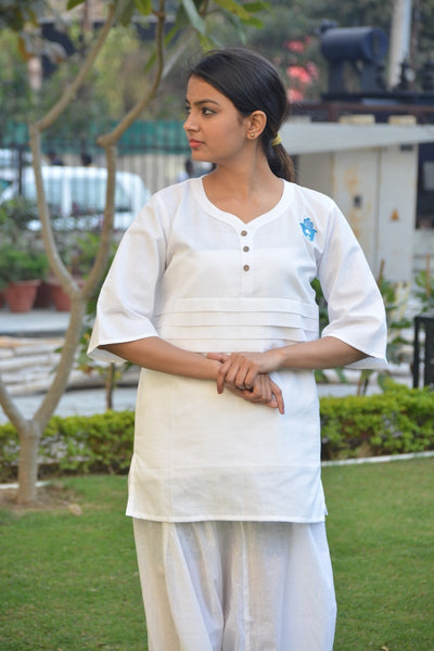 White Pleated Khadi Cotton Yoga Top $ IWK-000521