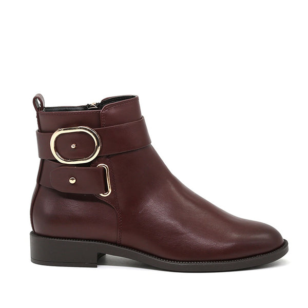 London Rag Women's Wine Red Ankle Boots-SH1426WINERED