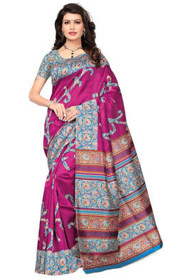 BL Enterprise Women's Bhagalpuri Cotton Silk Kalamkari Pink Color Saree With Blouse Piece $ BLLB-19