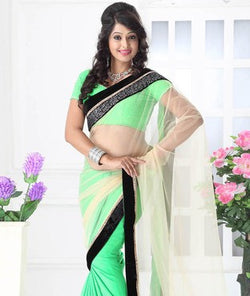 Net Satin Saree with Blouse