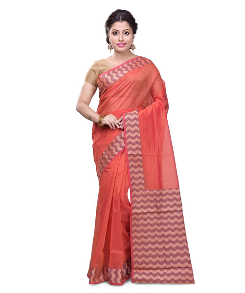 Varuna orange cotton blend saree FIBRIS004O_Orange
