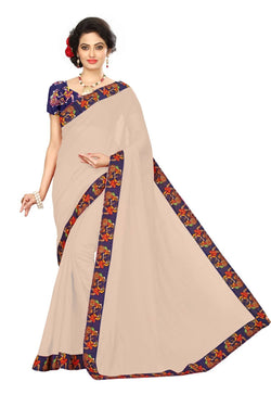 16to60trendz Beige Chanderi Lace Work Chanderi Saree $ SVT00257