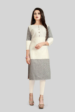 16TO60TRENDZ Beige and Black Cotton Printed Stiched long Kurti $ SVT00182