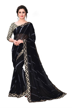 YOYO Fashion Georgette Black Saree With Blouse $YOYO-SARI2630