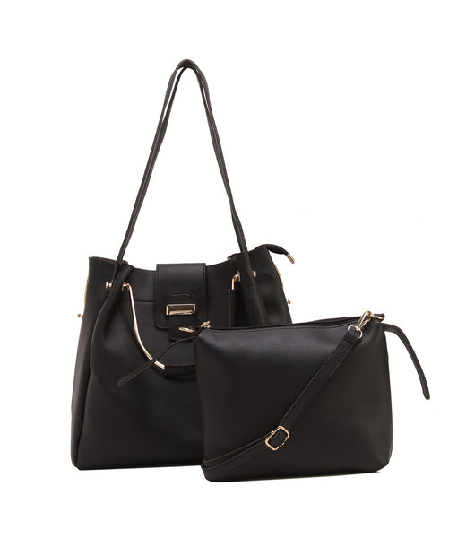 Fiona Trends Black PU Shoulder Bag,613_BLACK